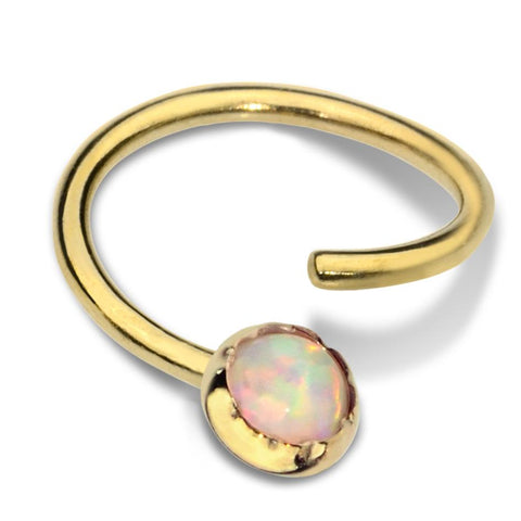 Septum Ring - Conch Ring - Nipple Ring 14K Gold Filled - 3mm White Opal