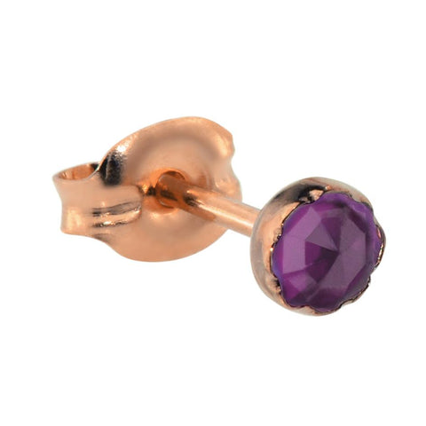 Tragus Earring / Cartilage Earring - 14K Solid Yellow/Rose/White Gold - 3mm Amethyst