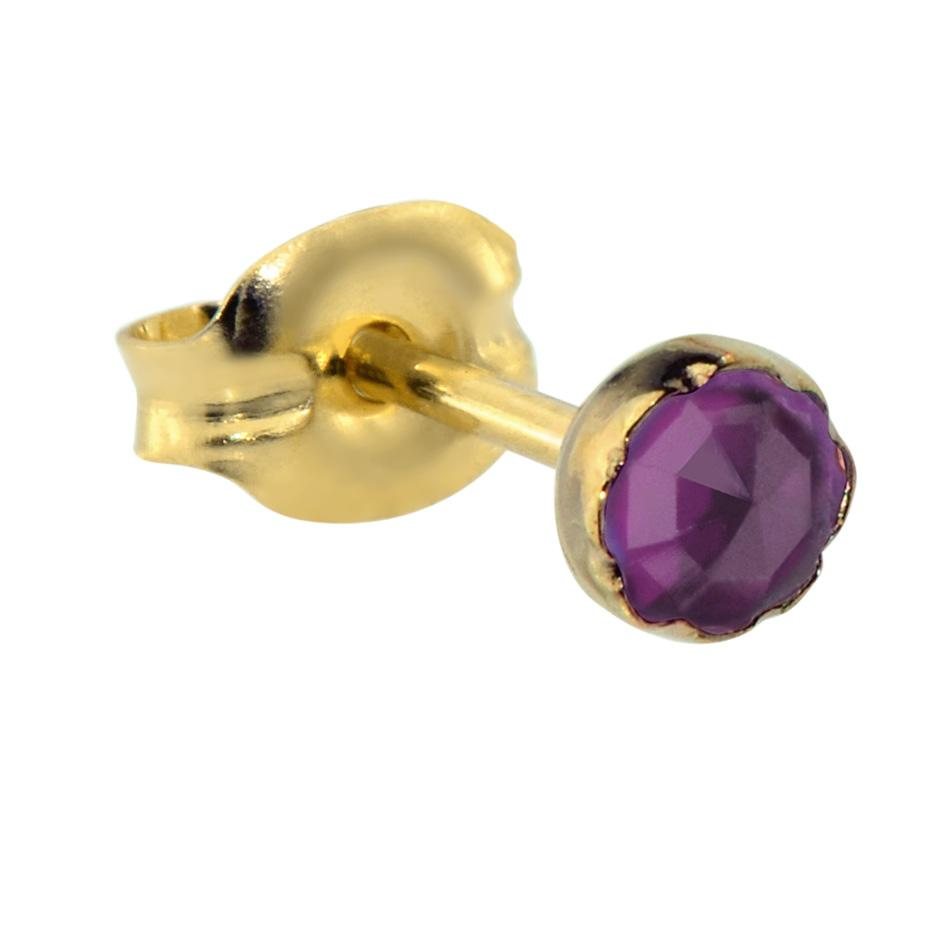 14K Solid Yellow/Rose Gold tragus/cartilage stud earring set with a 3mm Amethyst.