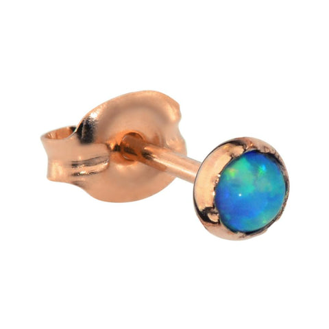 Tragus Earring / Cartilage Earring - 14K Solid Yellow/Rose/White Gold - 3mm Blue Opal