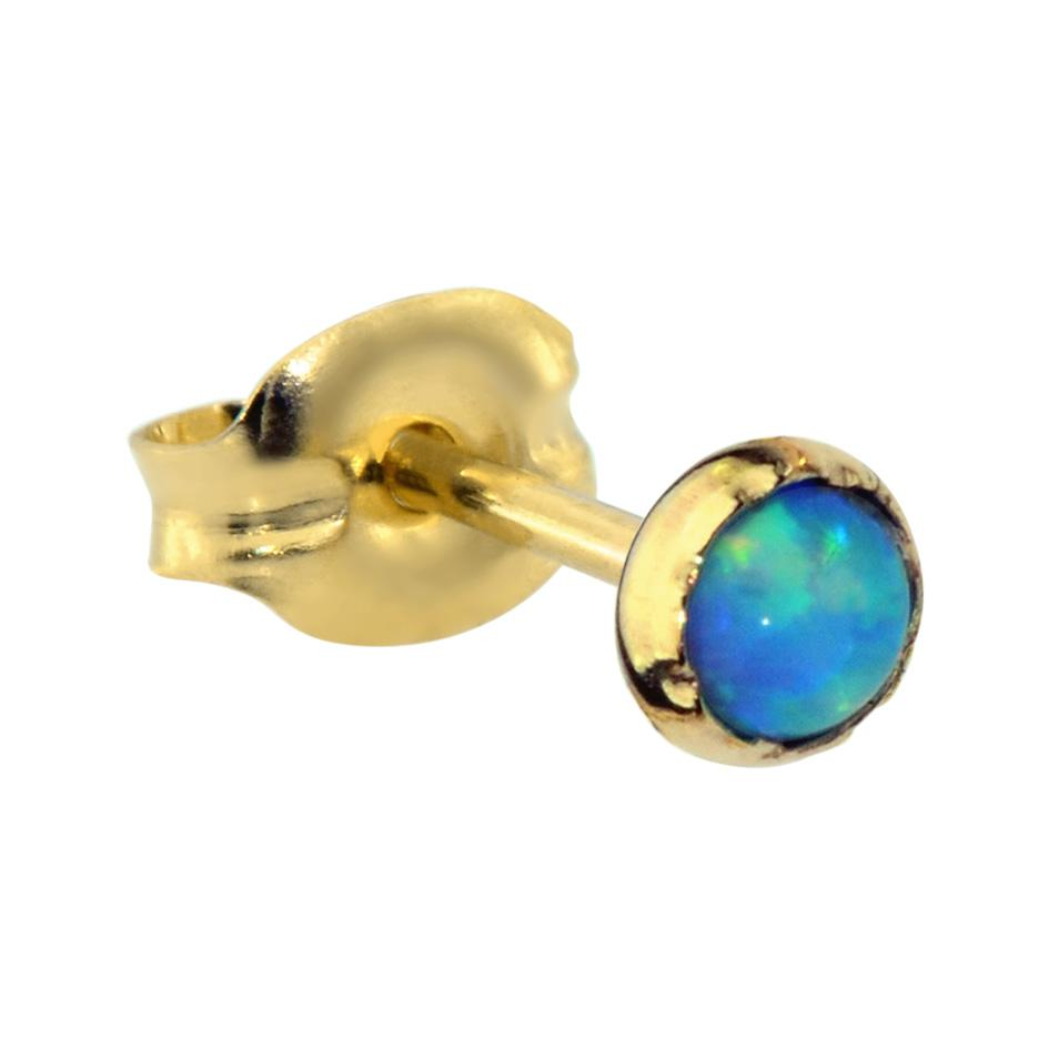 14K Solid Yellow/Rose Gold tragus/cartilage stud earring set with a 3mm Blue Opal.