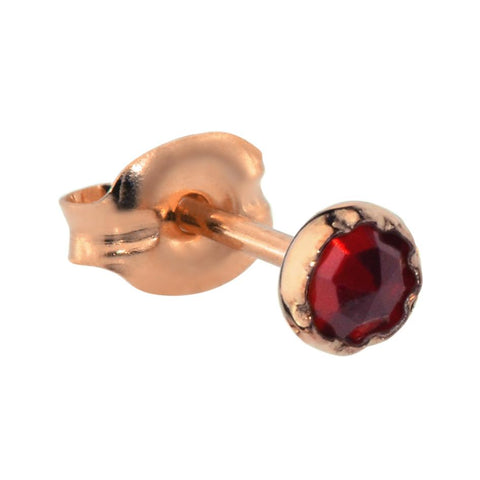 Tragus Earring / Cartilage Earring - 14K Yellow/Rose Gold Filled - 3mm Garnet