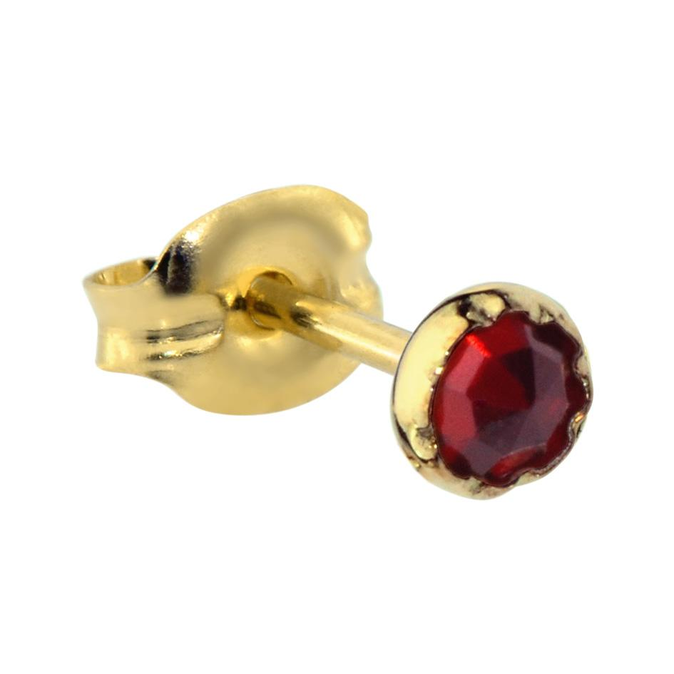 14K Solid Yellow/Rose Gold tragus/cartilage stud earring set with a 3mm Garnet.