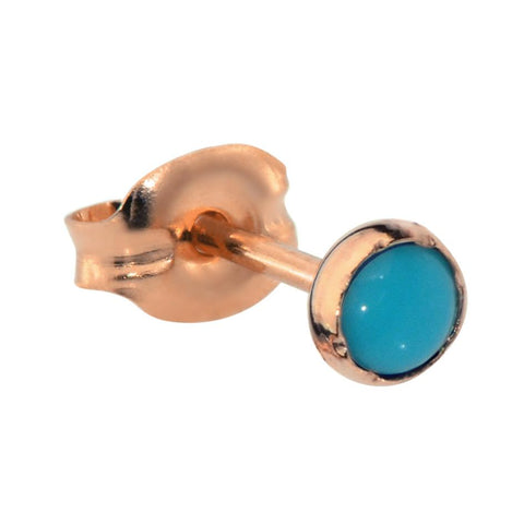 Tragus Earring / Cartilage Earring - 14K Solid Yellow/Rose/White Gold - 3mm Turquoise