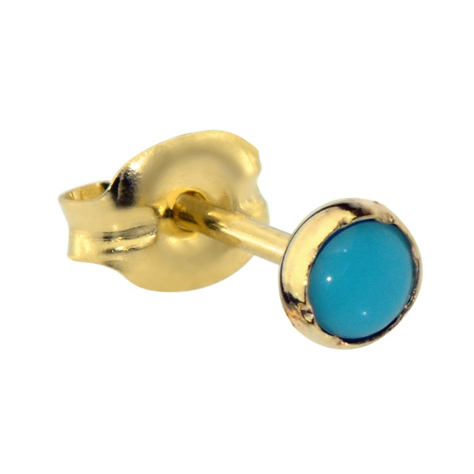 14K Solid Yellow/Rose Gold tragus/cartilage stud earring set with a 3mm Turquoise.