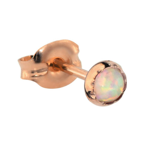 Tragus Earring / Cartilage Earring - 14K Solid Yellow/Rose/White Gold - 3mm White Opal