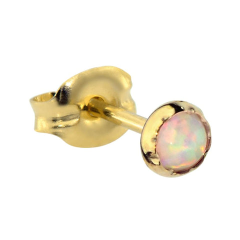 14K Solid Yellow/Rose Gold tragus/cartilage stud earring set with a 3mm White Opal.