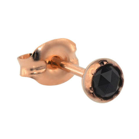 Tragus Earring / Cartilage Earring - 14K Yellow/Rose Gold Filled - 3mm Black Onyx