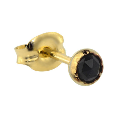 14K Solid Yellow/Rose Gold tragus/cartilage stud earring set with a 3mm Black Onyx.