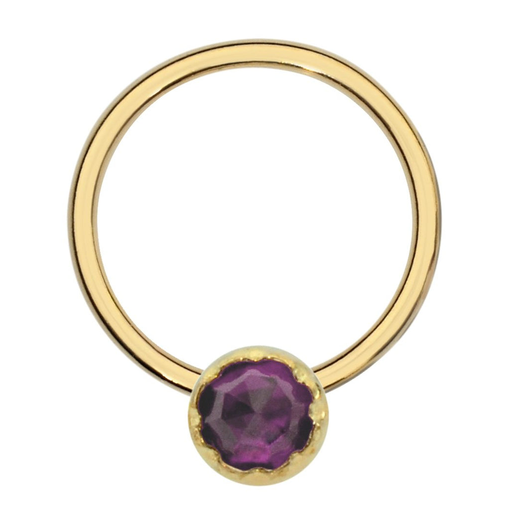 14K Solid Yellow/Rose/White Gold septum ring/conch ring/nipple ring set with a 3mm Amethyst