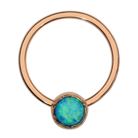 Septum Ring - Conch Ring - Nipple Ring 14K Solid Gold - 3mm Blue Opal
