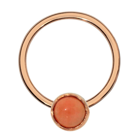 Septum Ring - Conch Ring - Nipple Ring 14K Solid Gold - 3mm Pink Coral