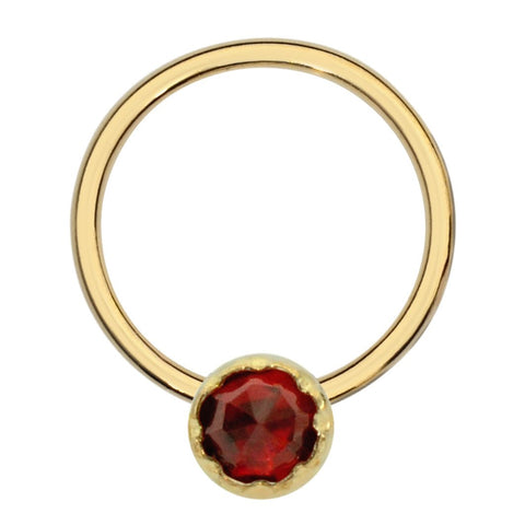 14K Solid Yellow/Rose/White Gold septum ring/conch ring/nipple ring set with a 3mm Garnet