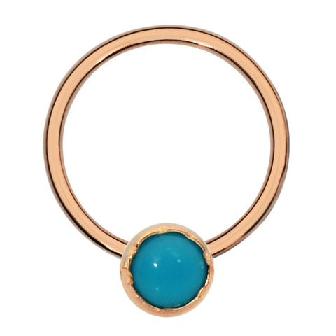 Septum Ring - Conch Ring - Nipple Ring 14K Gold Filled - 3mm Turquoise