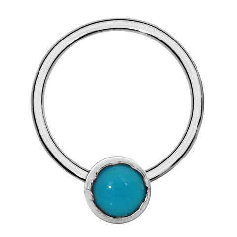 Sterling silver septum ring/conch ring/nipple ring set with a 3mm Turquoise