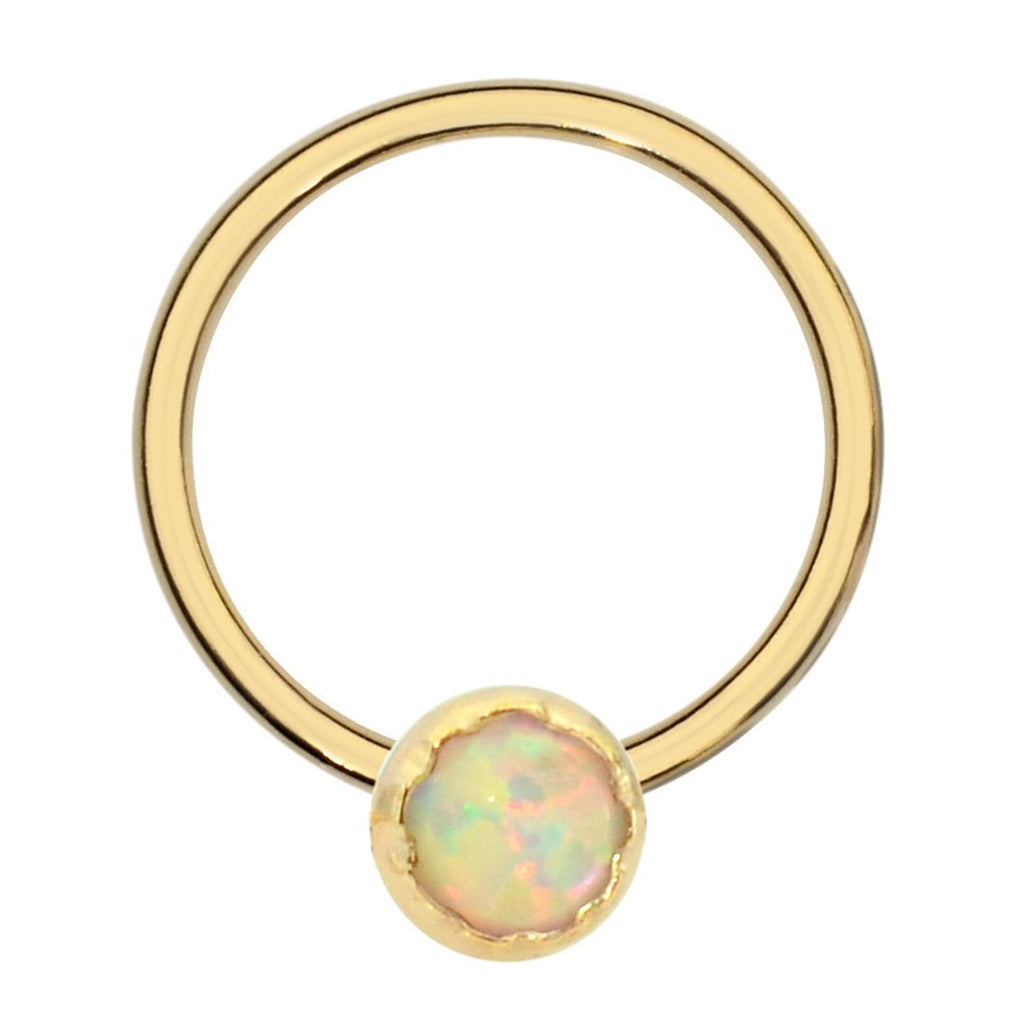 14K Yellow/Rose Gold Filled septum ring/conch ring/nipple ring set with a 3mm White Opal