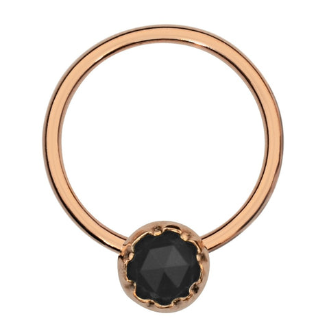 Septum Ring - Conch Ring - Nipple Ring 14K Solid Gold - 3mm Black Onyx