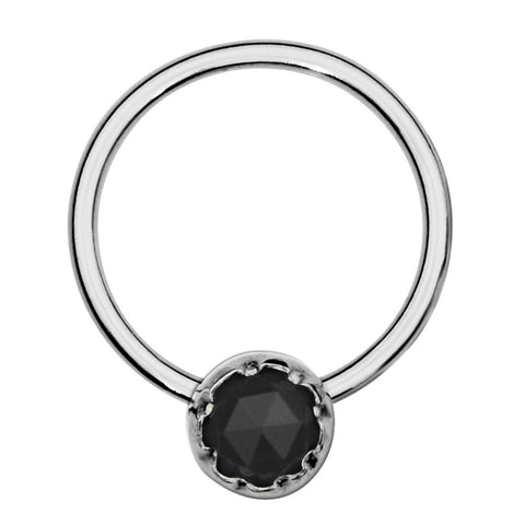 Sterling silver septum ring/conch ring/nipple ring set with a 3mm Black Onyx