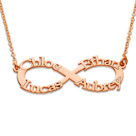 18k Yellow or Rose Gold Plating - Infinity Name Necklace