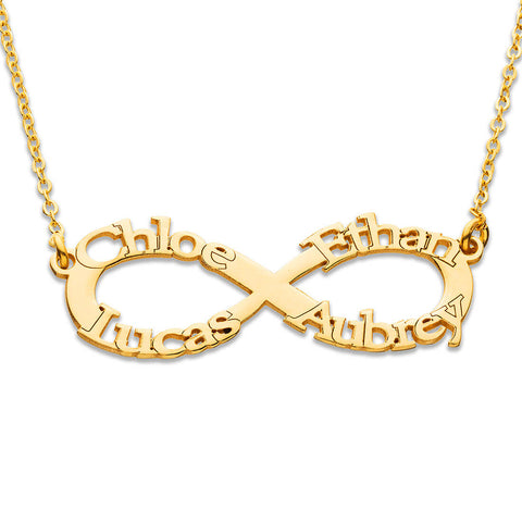Infinity Name Necklace - 18k Yellow or Rose Gold Plating
