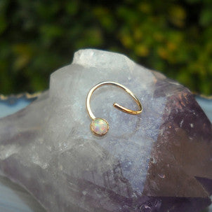 white opal septum ring