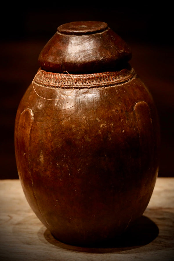 Ethiopian Wood Vessel with Lid Brown O/S