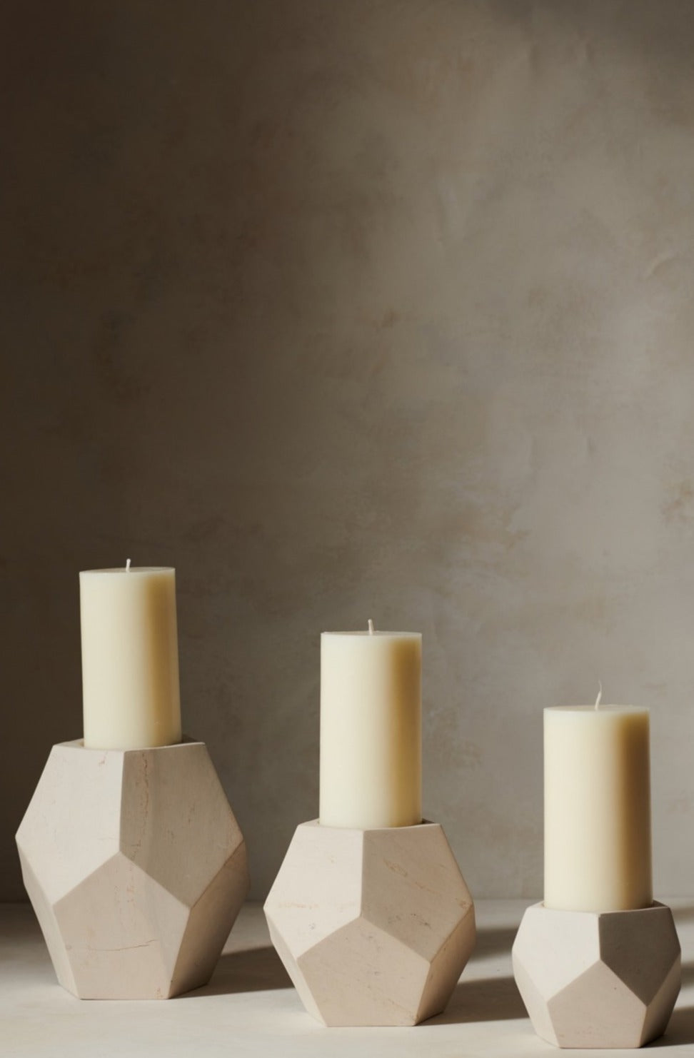 Octagon Soapstone Candle Holder White S M L