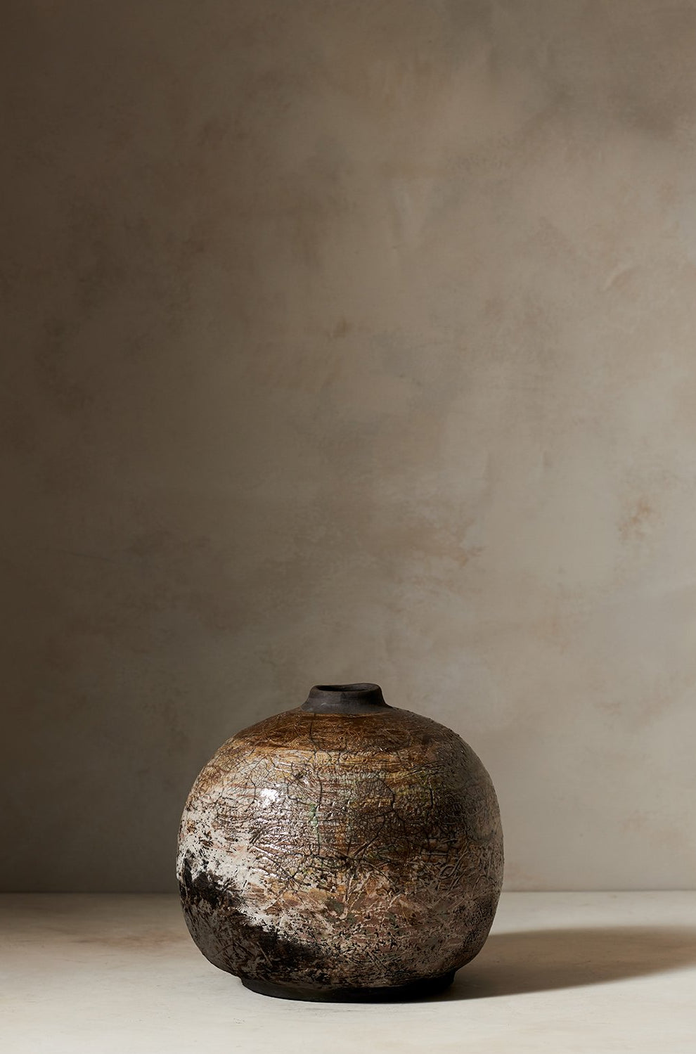Large Raku Vase Tan & Gold