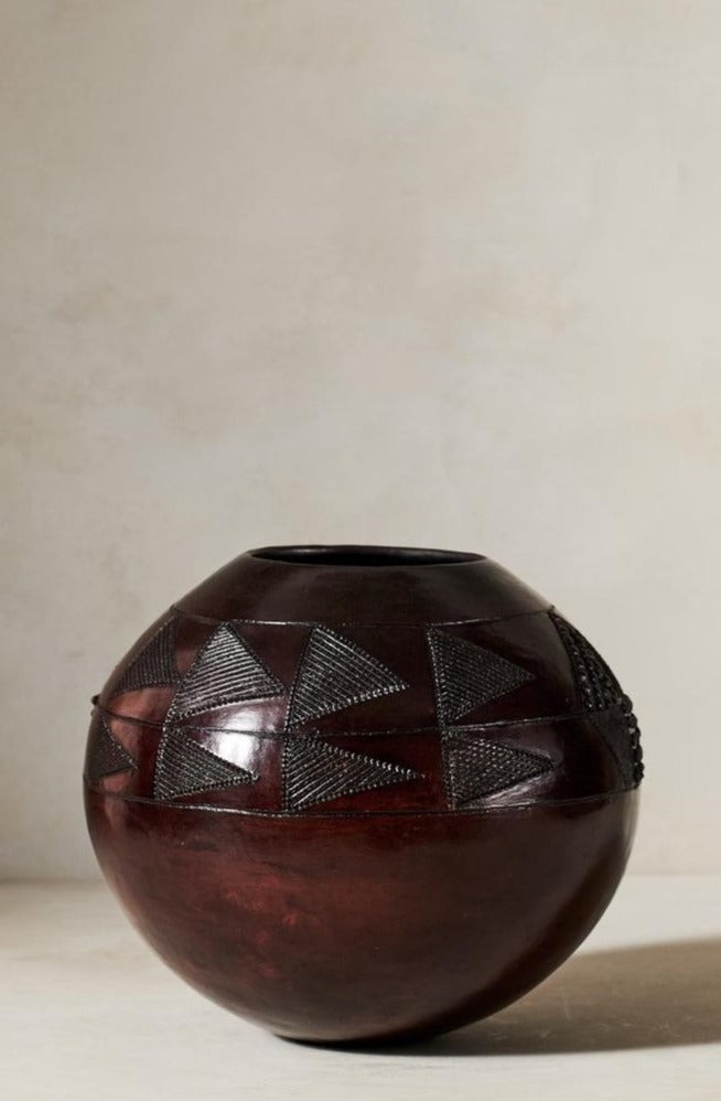 Jabulile Nala Ceramic Pot Three Brown