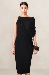 Twisted Cowl Draped Dress Black XS S M L