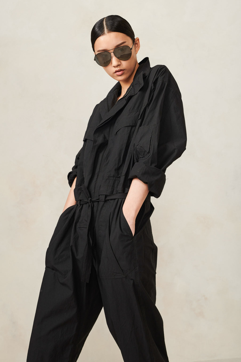 Poplin Jumpsuit Black XS S M L XL