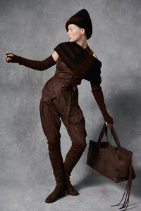 V Neck Wrap Suede Top Espresso XS S M L XL