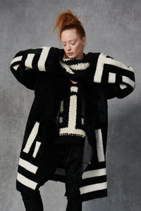 Patchwork Shearling Coat Black/Ivory P/S S/M M/L