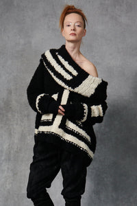 Cashmere Patchwork Sweater Black and Ivory P/S S/M M/L