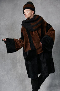 Colorblock Shearling Coat Black/Russet P/S S/M M/L
