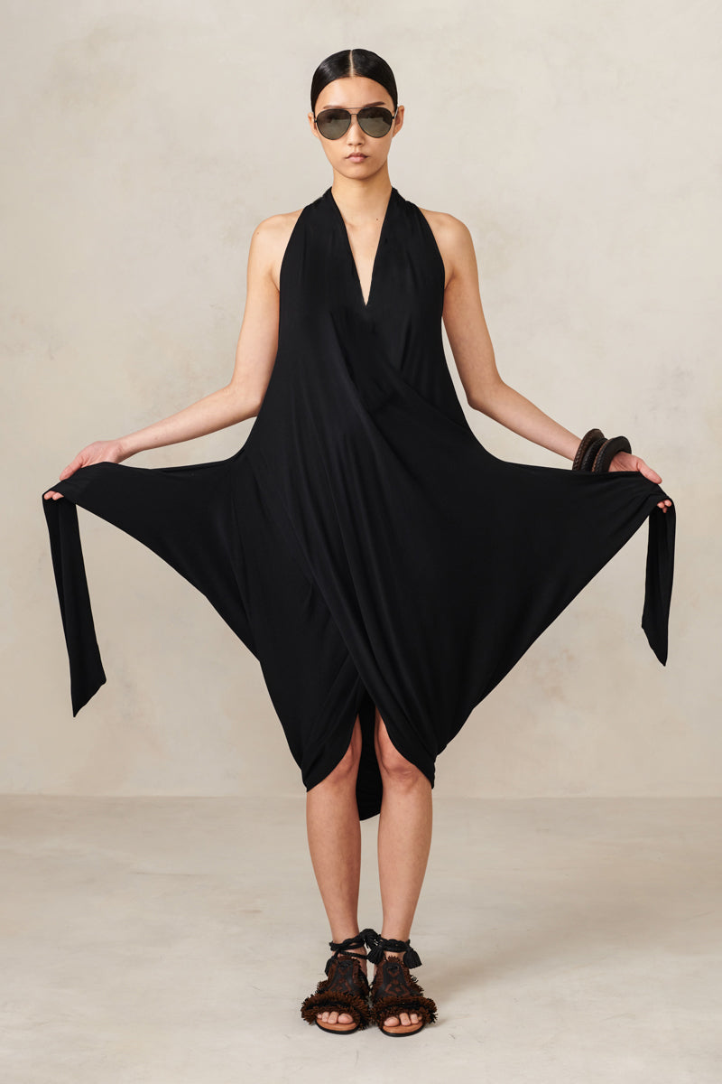 Wrap and Tie Jersey Dress Black P/S S/M M/L