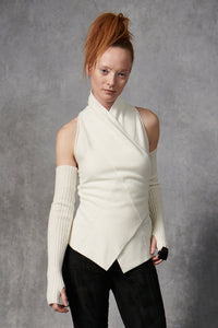 Cashmere Sleeveless Sweater Ivory P/S S/M M/L
