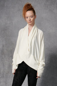 Cashmere Cross Over Sweater Ivory P/S S/M M/L