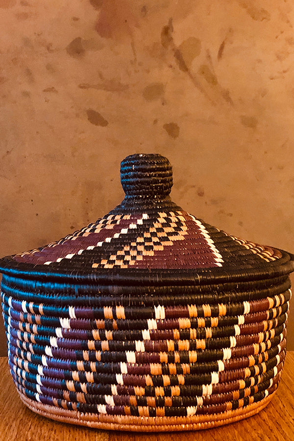 Colombian Multicolor Basket with Lid Multicolor O/S
