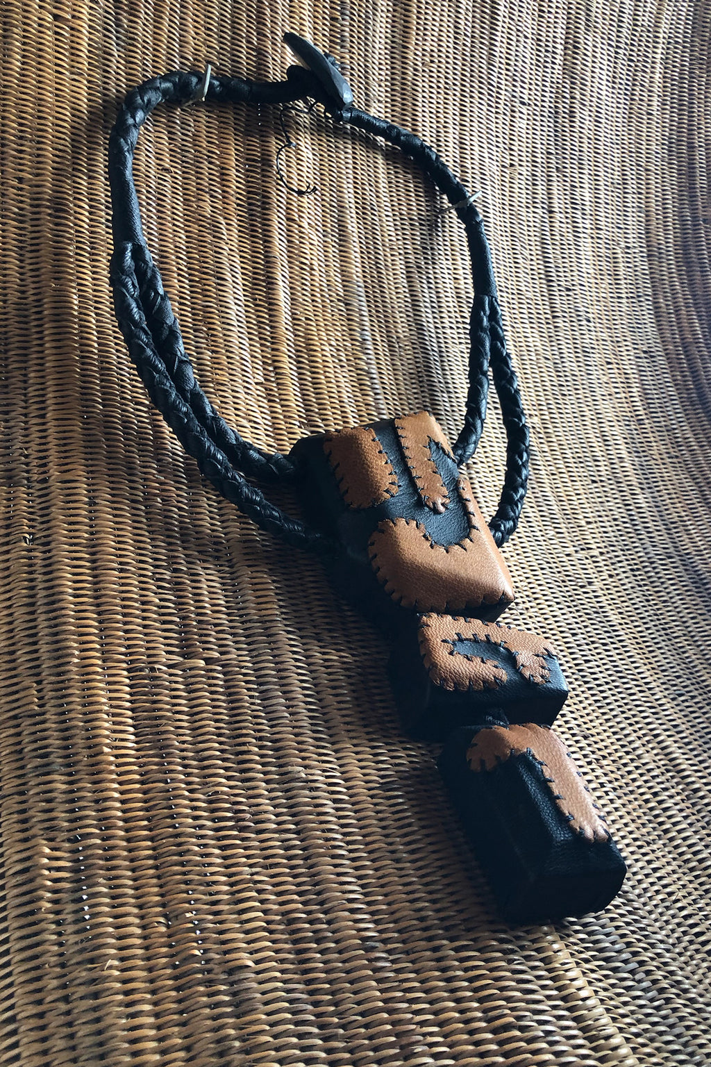 Tri Patchwork Necklace Black and Rust