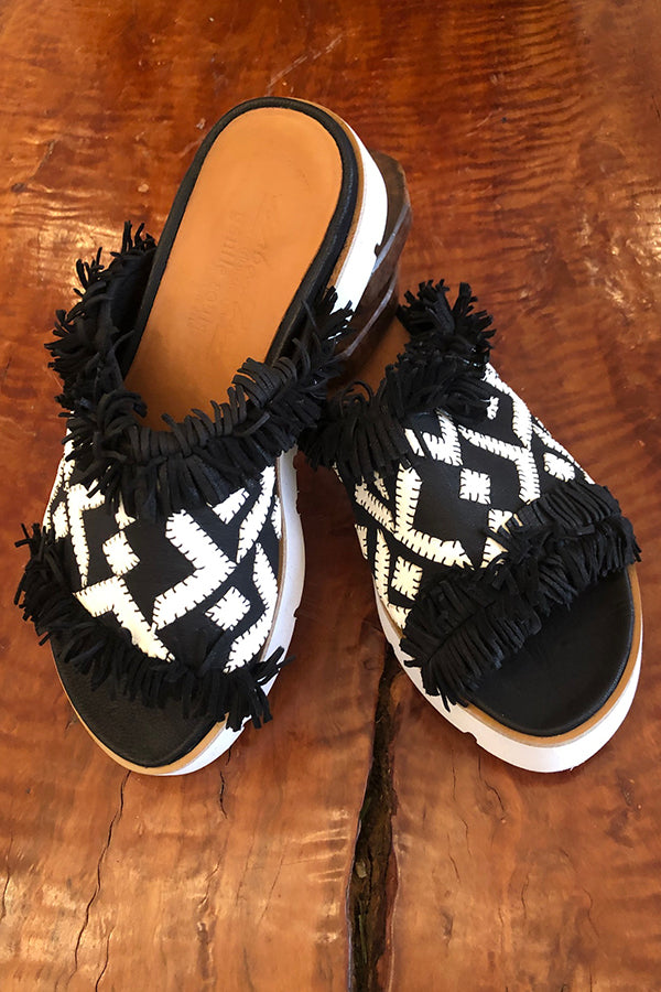 UZ x Gentle Souls Plezi Sandal - Black and White Black and White 6 7 8 9 10 11