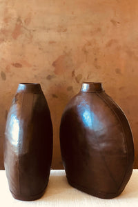 Brown Leather Oval Vase Brown OS