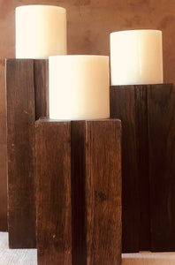 Square Wood Candle Holder Set Brown