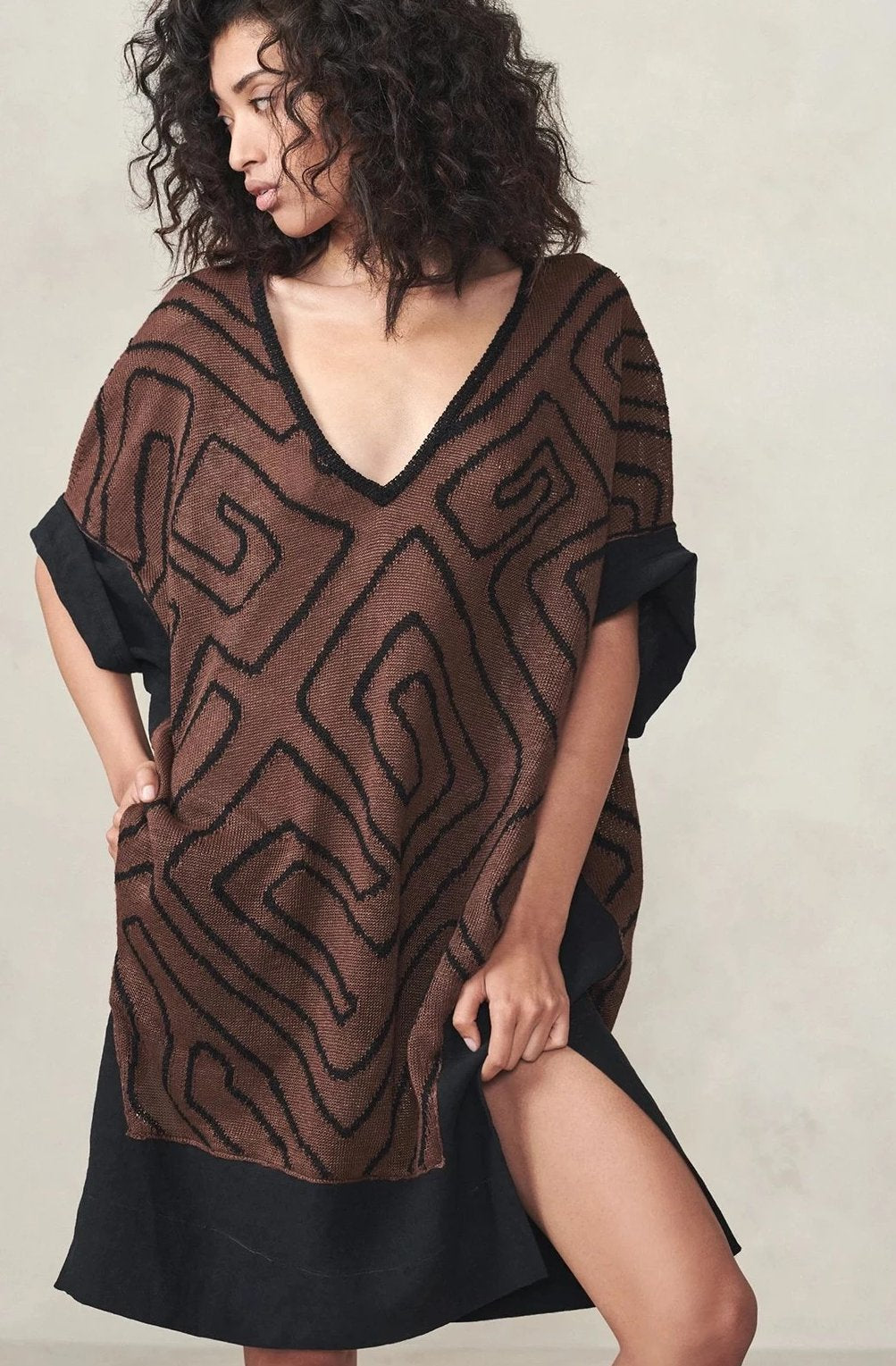 Jacquard V Neck Linen Backed Dress Clay/Black P/S S/M M/L