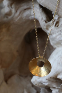 Metalero Hammered Gold Small Sphere Necklace Gold