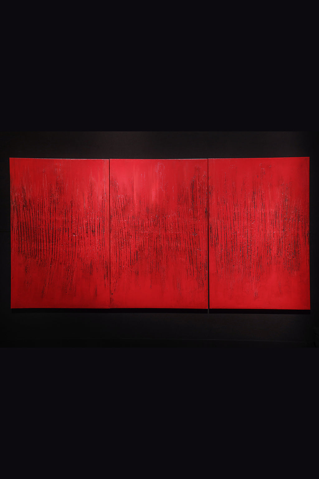 Grazia Fortuna Ward Red Triptych Painting Red