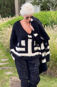 Cashmere Patchwork Sweater - Black and Ivory Black and Ivory P/S S/M M/L