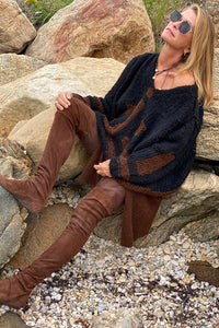 Cashmere Patchwork Sweater - Black and Russet Black and Russet P/S S/M M/L