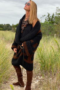 Jacquard Cashmere Coat  Black and Russet P/S S/M M/L