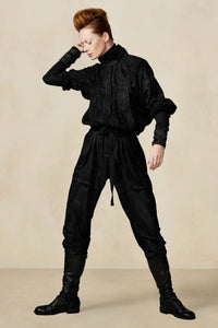 Black Suede Flight Suit Black XS S M L XL